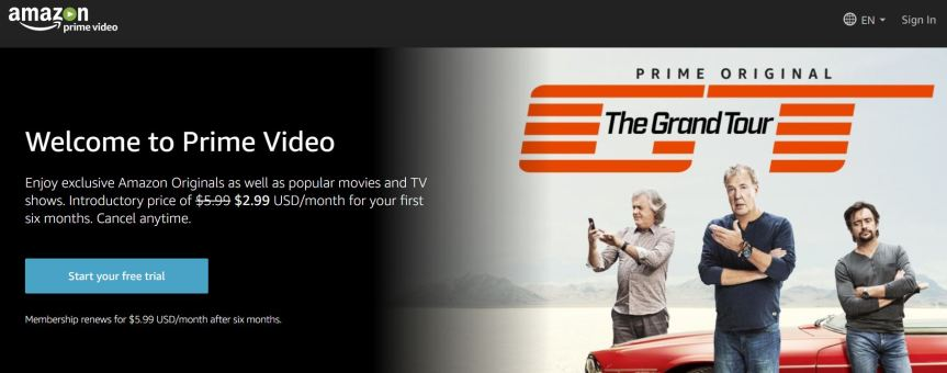 Amazon Prime Videos for free streaming
