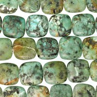 12mm Square African Turquoise Matte Stone Bead - Blue ...