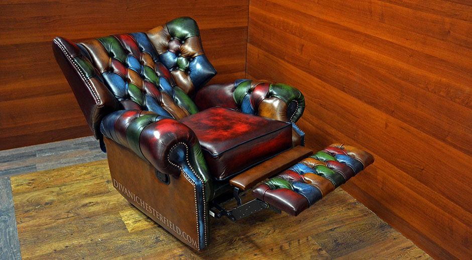 red recliner chairs abbyson living chair multi colour chesterfield patchwork monk harlequin leather