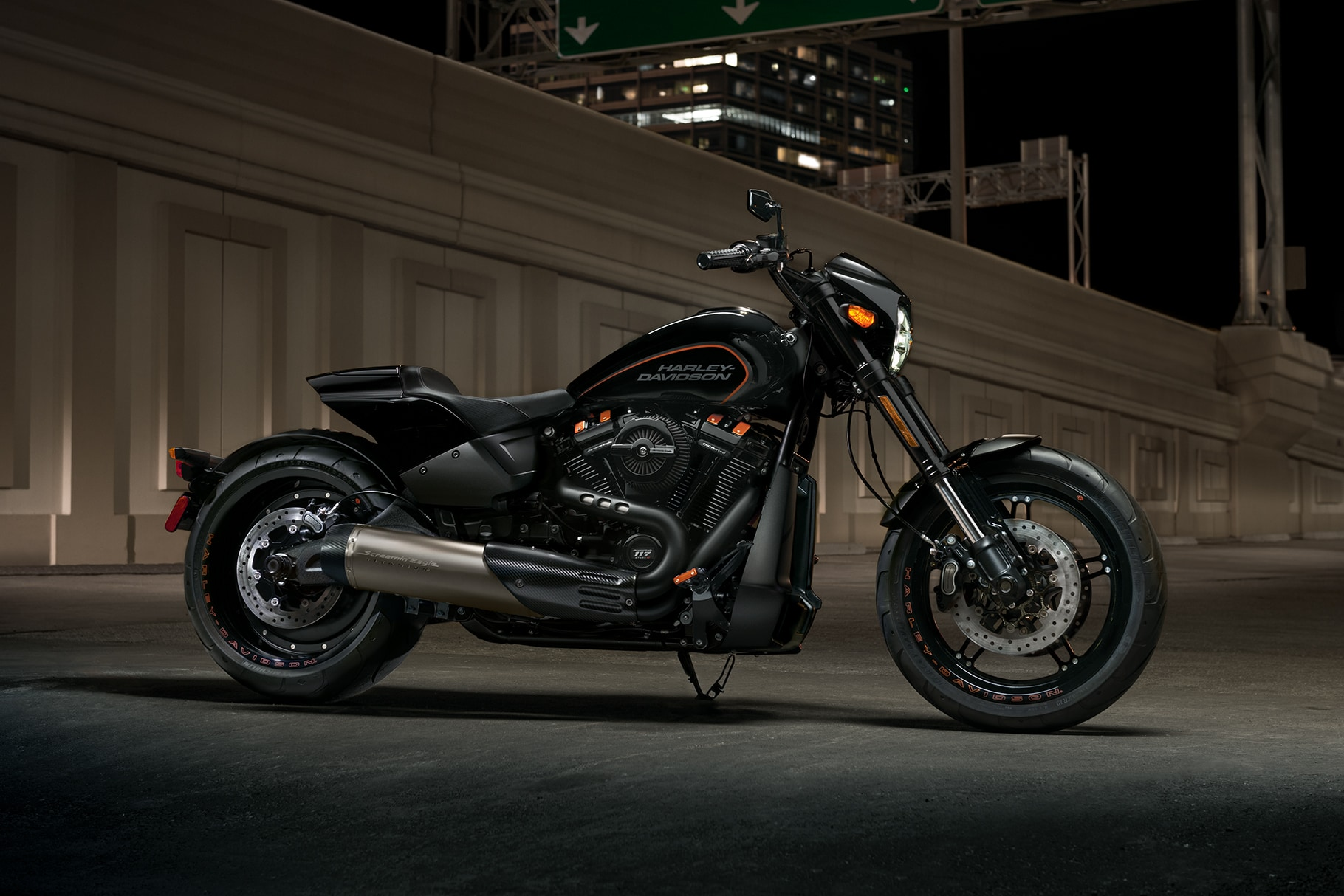 hight resolution of parked harley davidson 2019 fxdr motorcycle