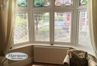 Caf Style Perfect Fit Blinds in a bay window