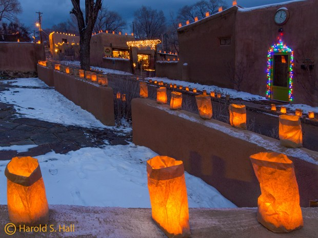 Farolitos and Luminarias on Ledoux Street Taos, NM
