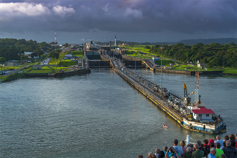 Our cruise ship approaches the first series of locks