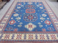 Royal Blue Hand Knotted Rug 10x12 Kazak Carpet Wool on ...