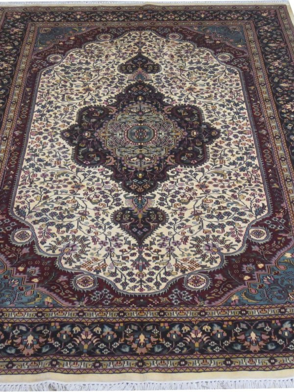 Ivory 6x9 Area Rugs Silk Kashmir Cheap Handmade Oriental Rug