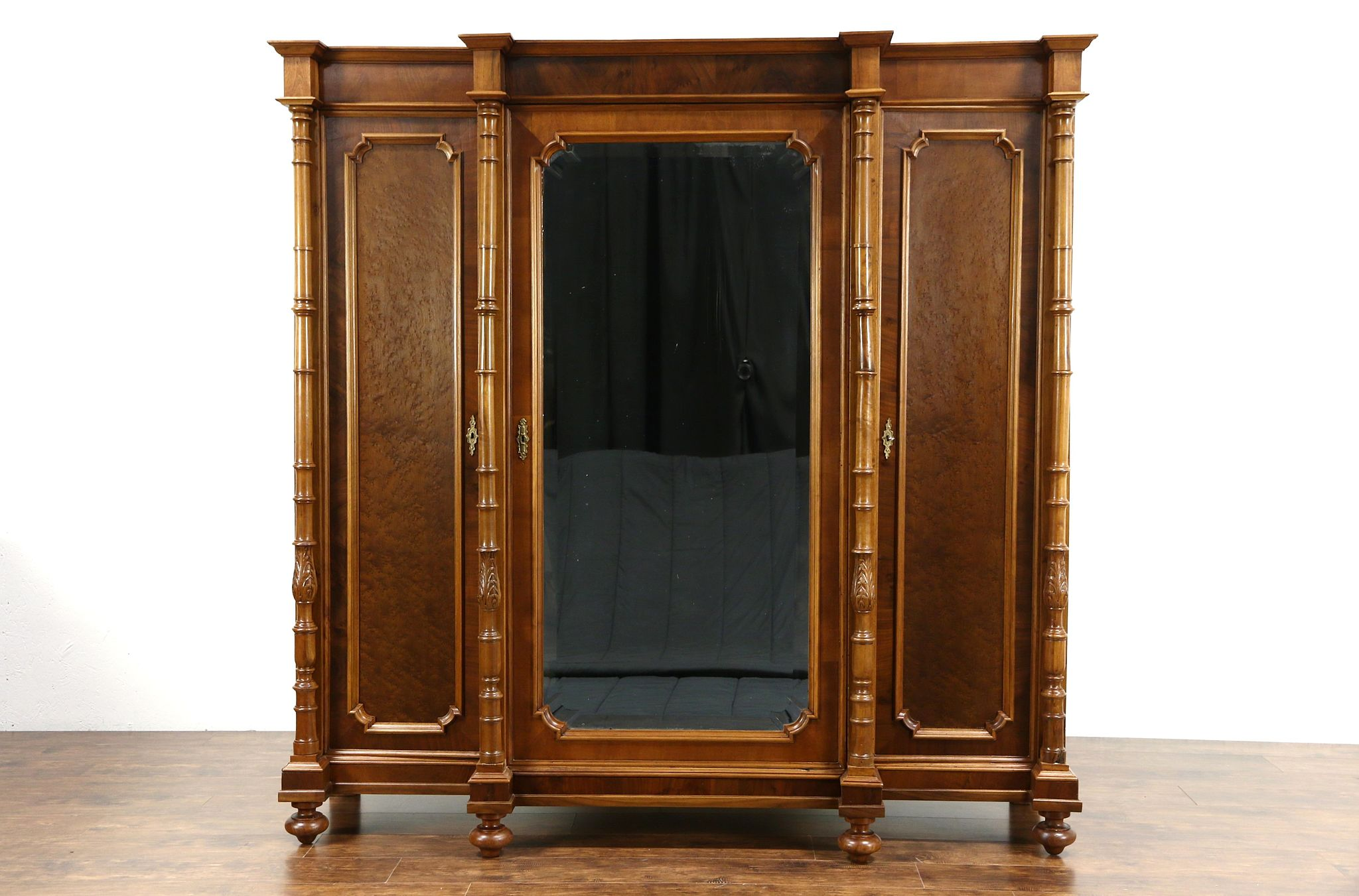 SOLD Italian 1900 Antique Walnut Triple Armoire