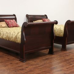Modern Victorian Sofa Leather Trend Reviews Sold - Pair Of 1910 Antique Twin Size Flame Mahogany ...