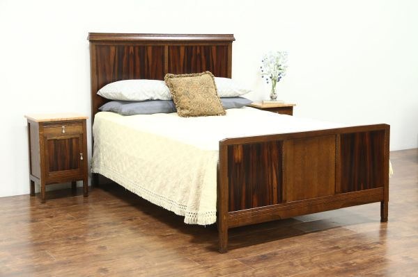 Sold - Art Deco 1925 Queen Size Oak & Rosewood Bed France