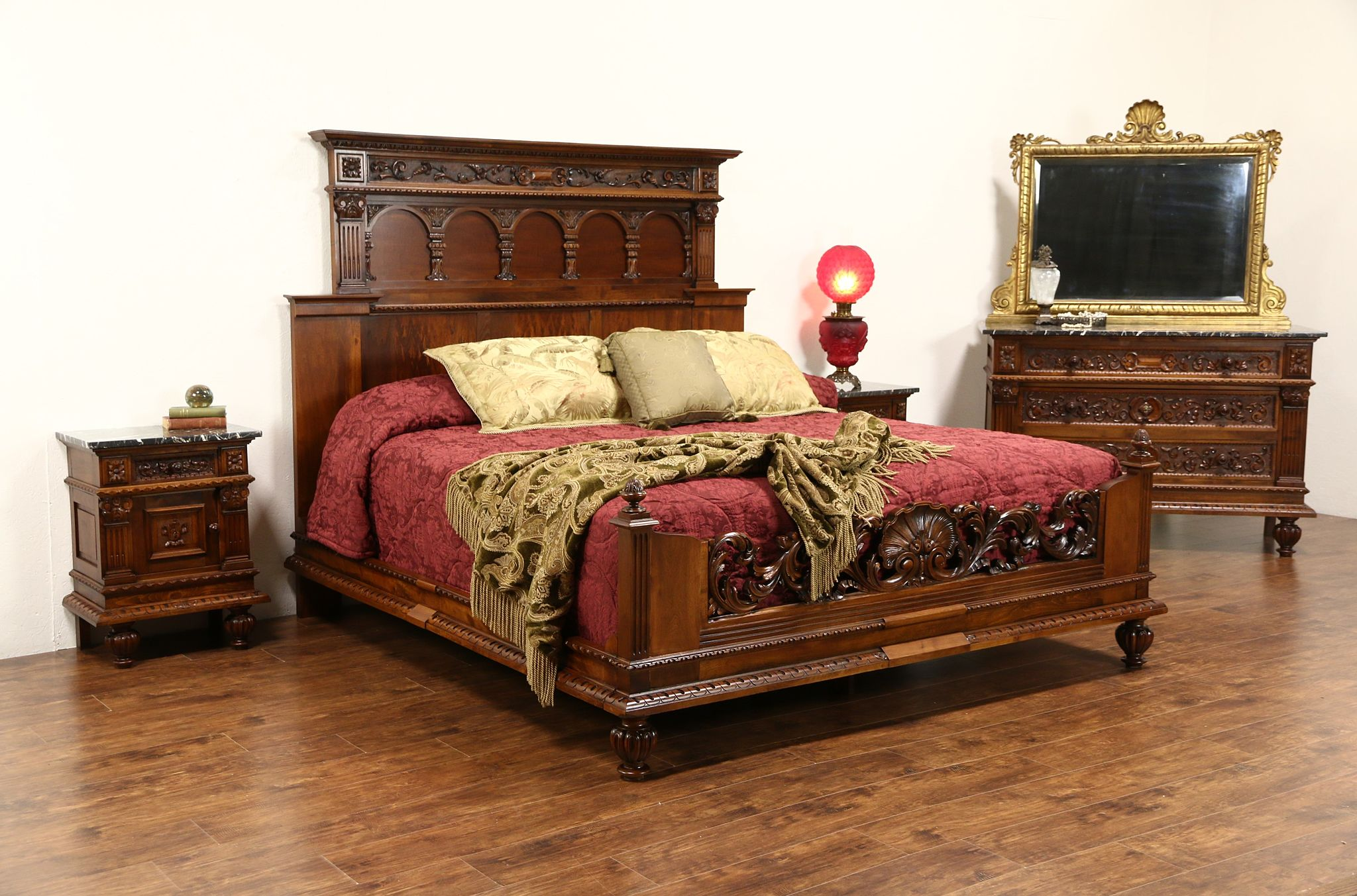SOLD  Italian Renaissance 1900s Antique King Size 4 Pc Bedroom Set Marble Top Chests  Harp