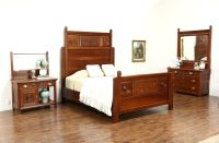 SOLD - Victorian 1890 Antique Carved Cherry 3 Pc. Bedroom ...
