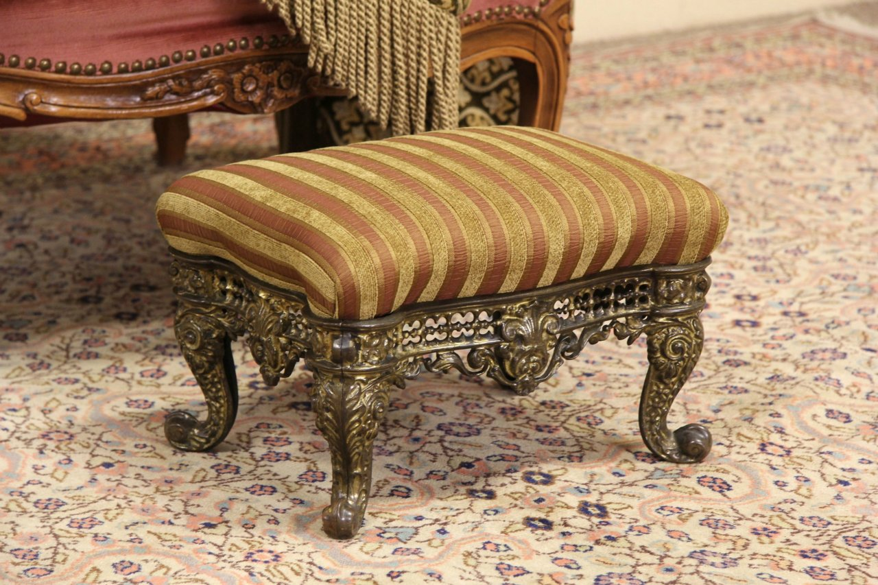 SOLD  Victorian Cast Brass 1870 Antique Footstool New Upholstery  Harp Gallery