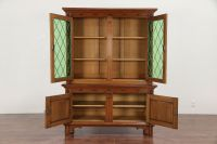 Dutch Antique Oak Bookcase or China Cabinet, Leaded Glass