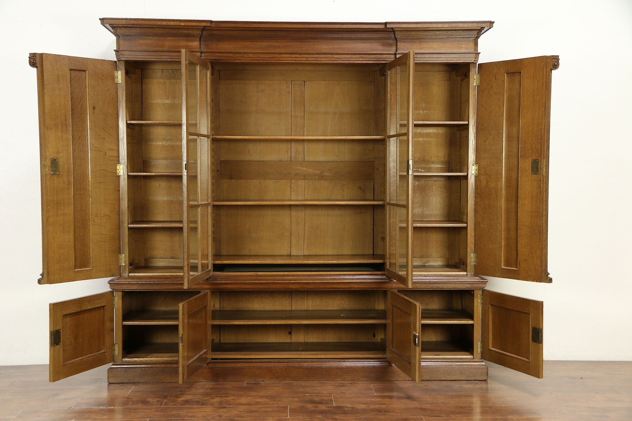 Classical Antique 1910 Carved Oak Scandinavian Library