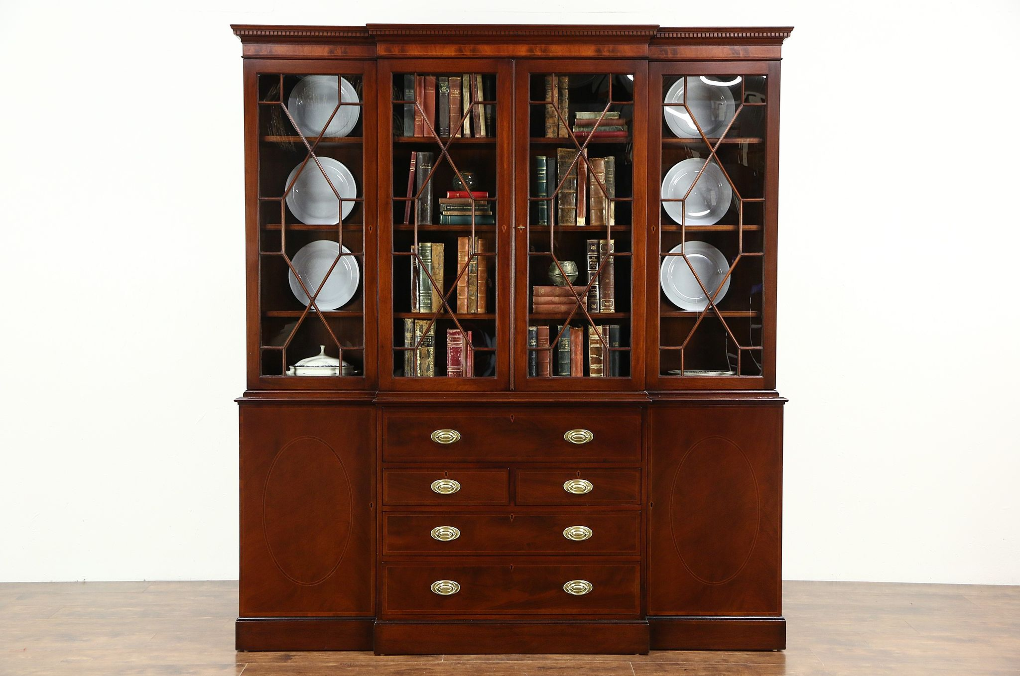 Sold English Vintage Mahogany Breakfront China Cabinet