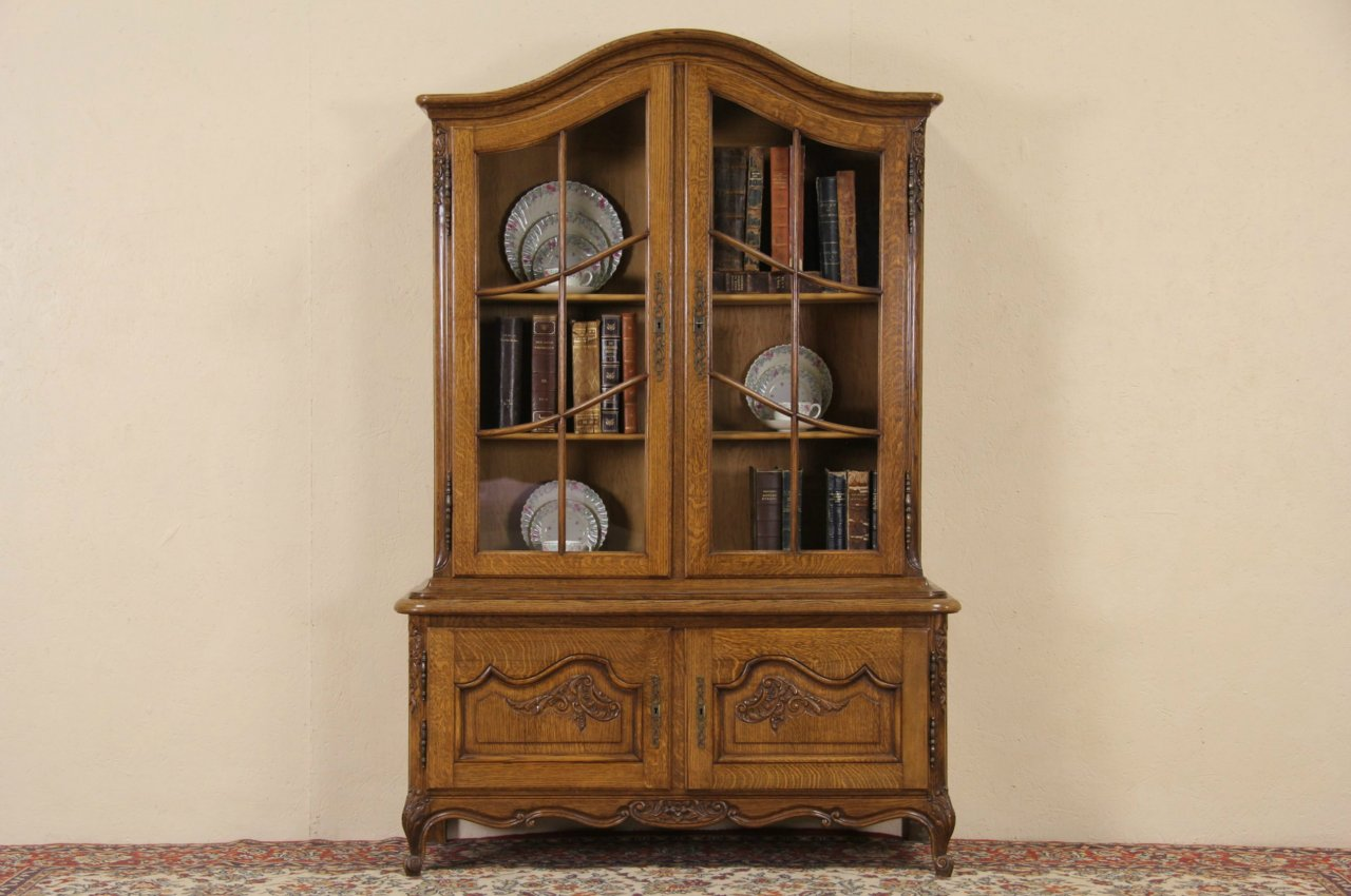 cabinet organizers for kitchen ninja mega system 1500 review sold - country french oak 1920 antique bookcase or china ...