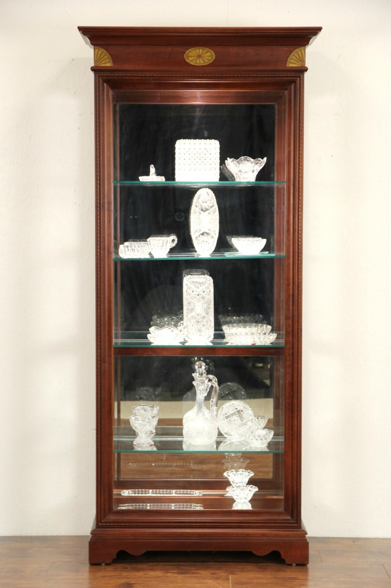 SOLD  Cherry Vintage Lighted Curio Display Cabinet
