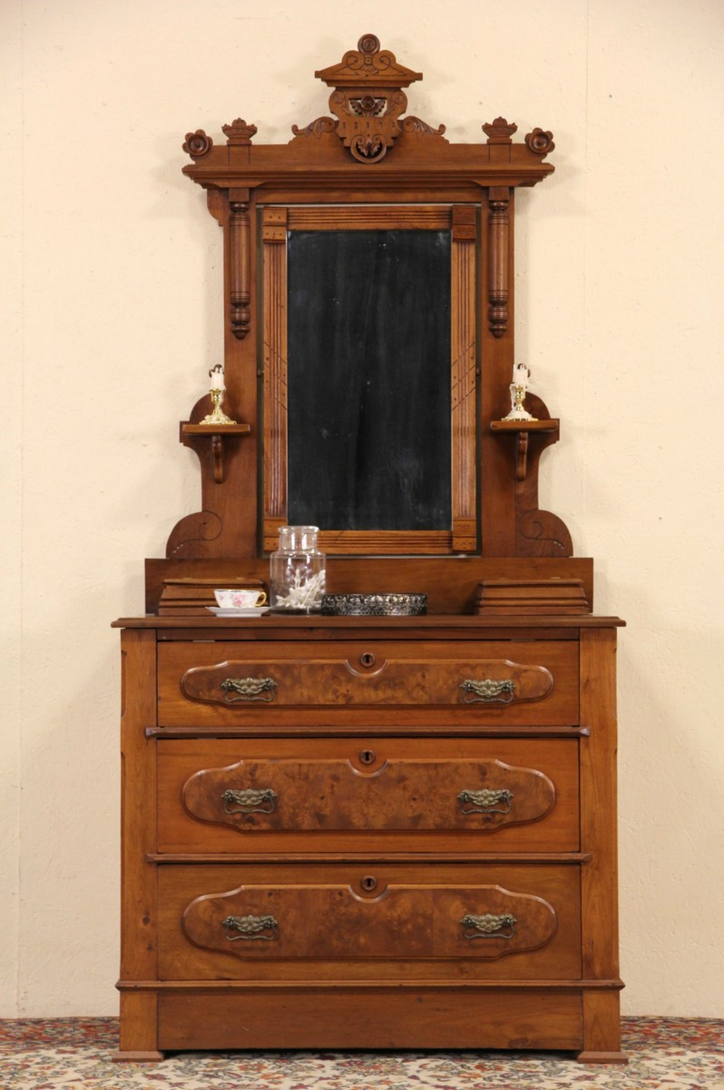 SOLD Victorian Eastlake 1880 Antique Walnut Dresser Or Chest Mirror Jewelry Boxes Harp Gallery