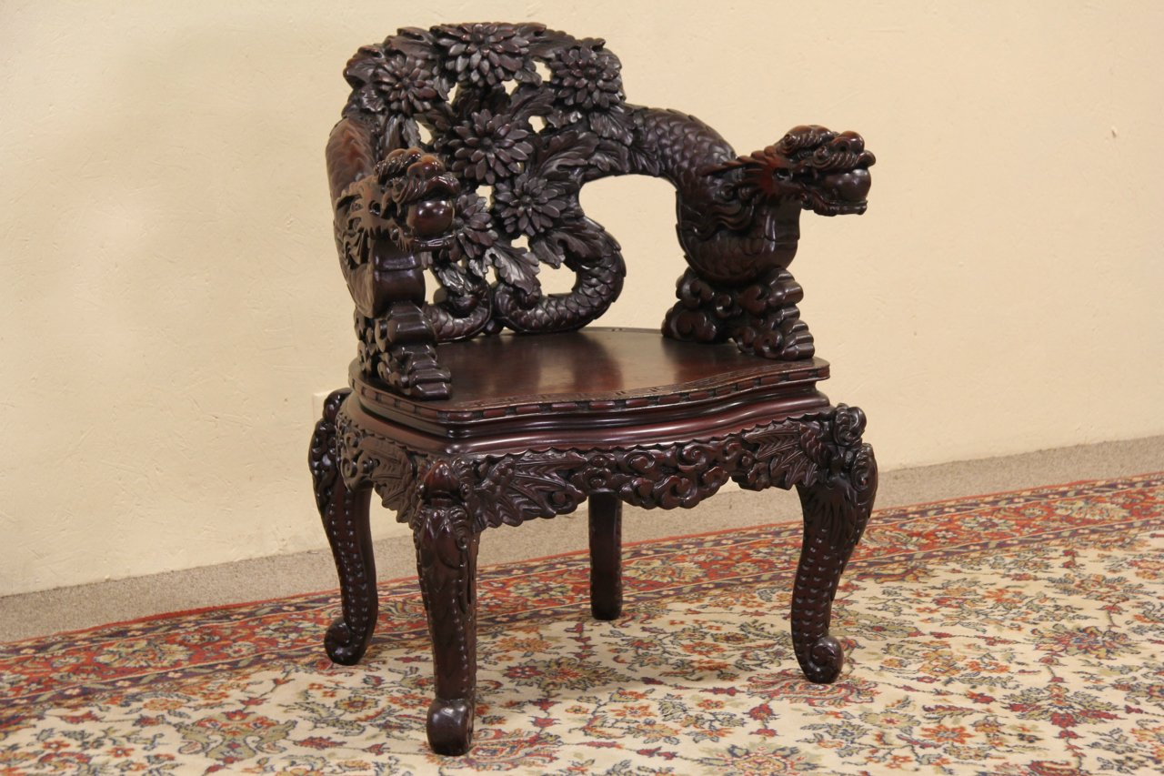 desk chair in store extra large papasan sold - chinese dragon hand carved antique 1920 harp gallery