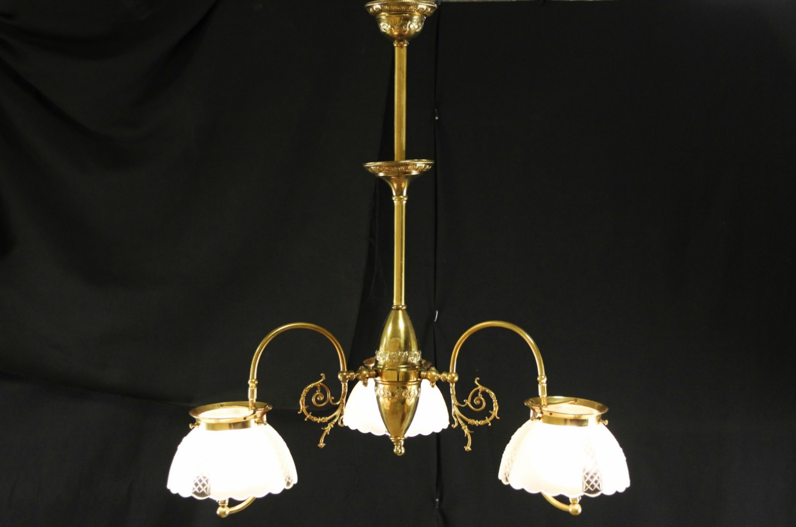 SOLD  Victorian 1890s Antique 3 Light Gas Chandelier
