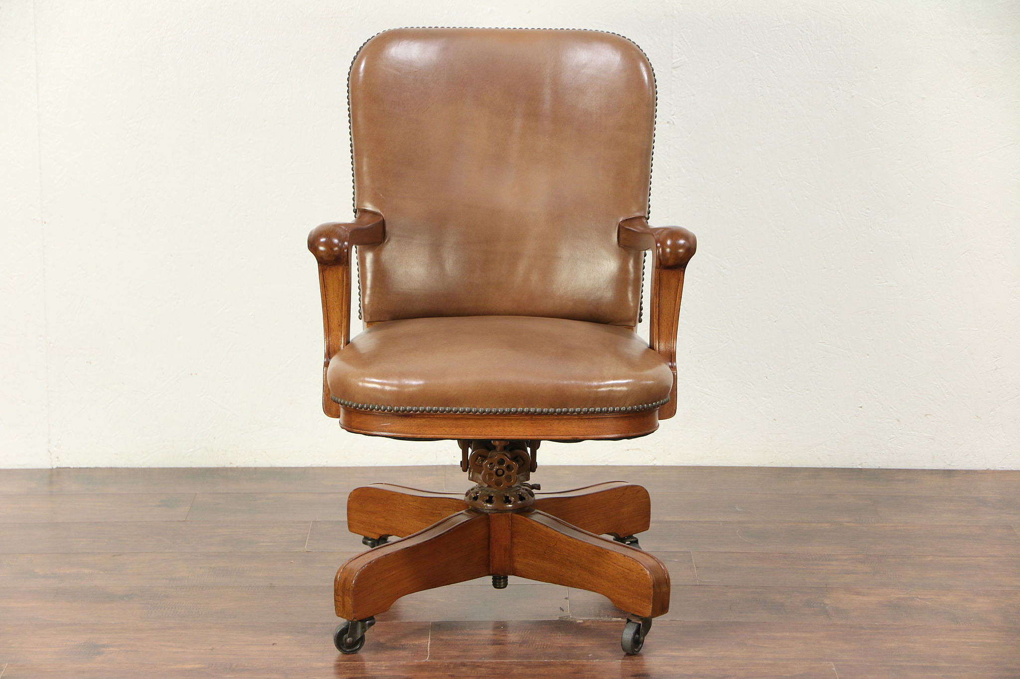 antique mahogany office chair bedroom tufted sold leather swivel adjustable desk signed milwaukee 29688