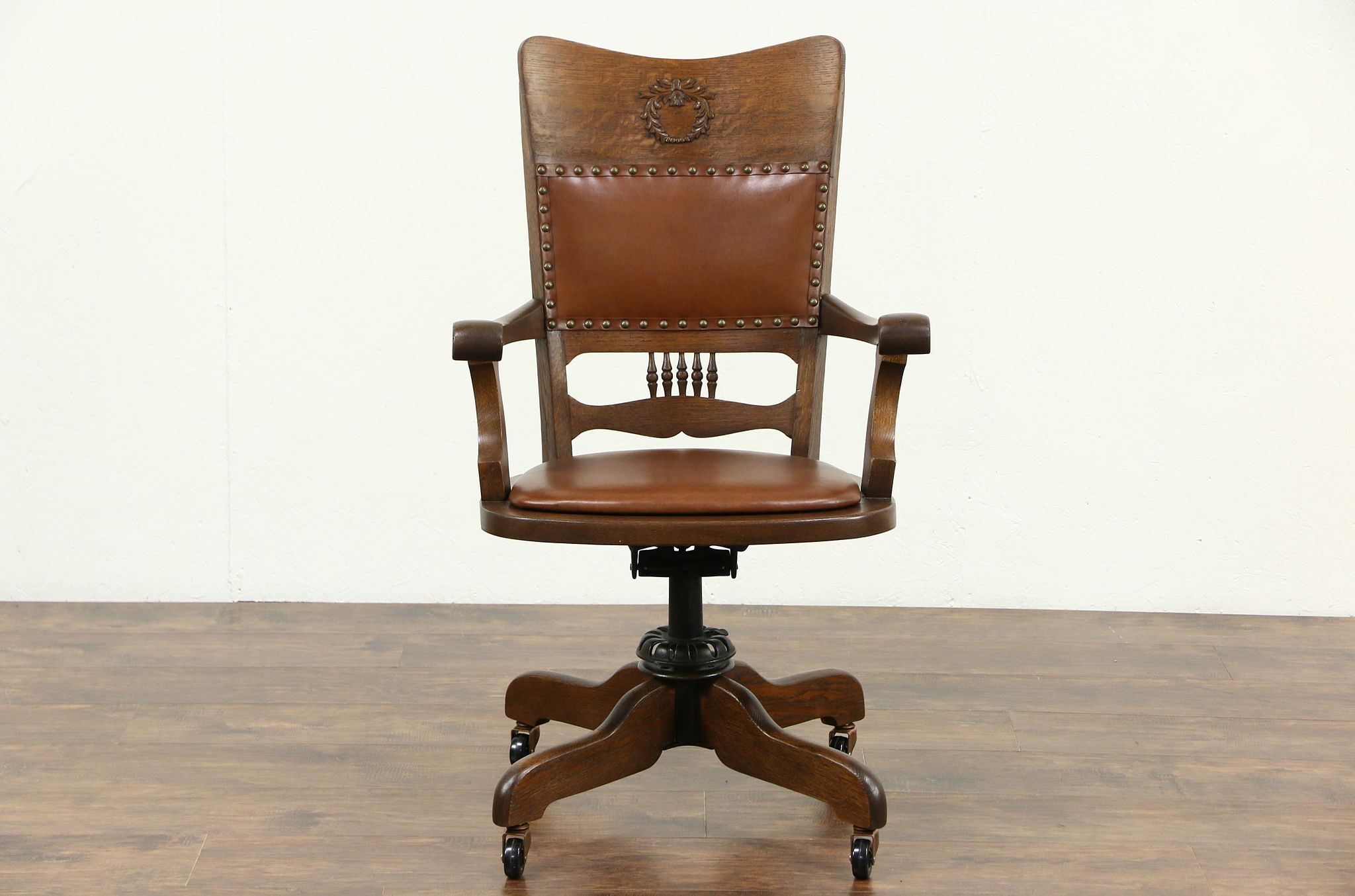 SOLD  Oak  Leather Swivel Adjustable Antique Desk Chair