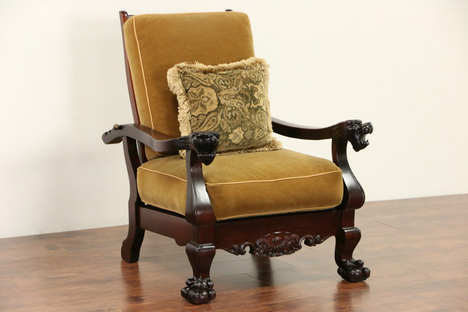 antique mahogany office chair child adirondack sold - morris recliner chair, 1900 & mohair, carved lion heads harp gallery