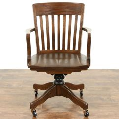 Desk Chair Made Patio Fabric Replacement Sold Oak Swivel 1940 S Vintage Adjustable W Arms Signed In Usa Harp Gallery