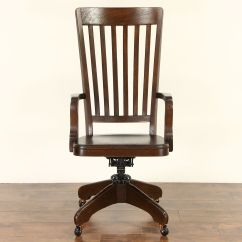 Adjustable Desk Chairs Wooden Chair On Wheels Sold Oak Antique 1900 High Back Swivel Library Or Office Harp Gallery