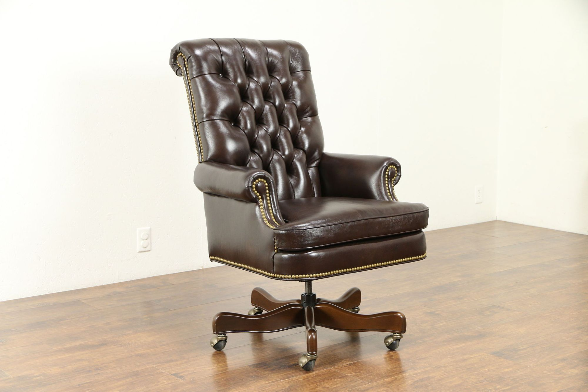 hight resolution of leather tufted swivel adjustable new desk chair cabot wrenn 30995 photo