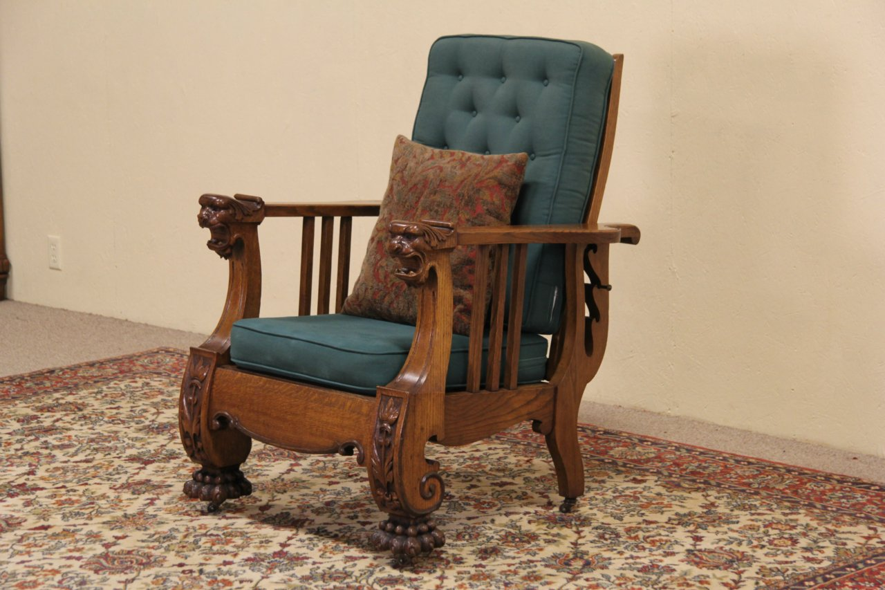 SOLD Morris Reclining Chair 1900 Antique Carved Oak