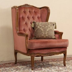 French Velvet Chair Patio With Ottoman Sold Style Carved Vintage Wing