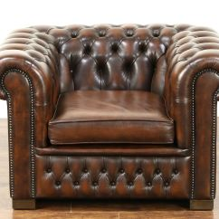 Tub Chair Brown Leather Black And Cream Accent Chairs Sold Chesterfield Tufted Vintage Scandinavian Harp Gallery