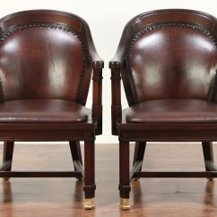 Antique Mahogany Office Chair Wedding Covers Wholesale China Pair Of Banker Desk Or Chairs Leather 29462 Harp Gallery