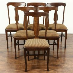 Antique Oak Dining Chairs Ladder Back With Cane Seats Sold Set Of 6 1900 Quarter Sawn New Upholstery Harp Gallery