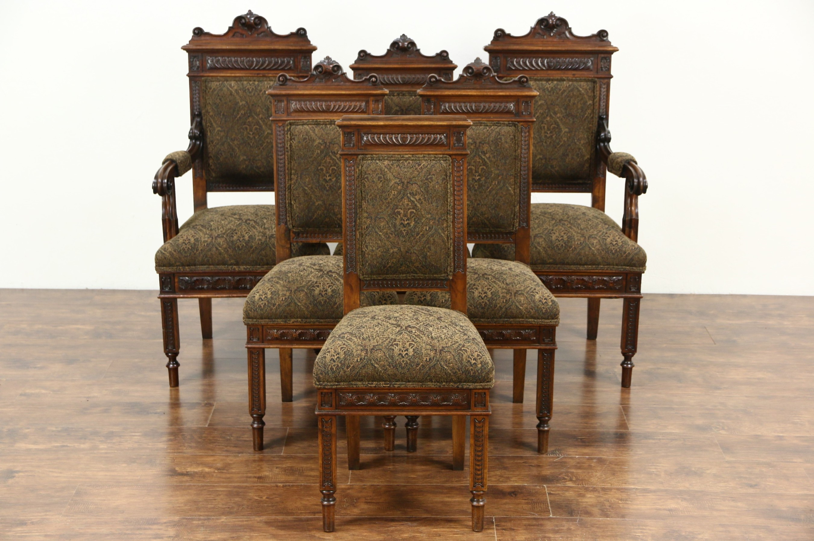 small kitchen island with chairs orlando hotels full sold - set of 6 italian carved walnut antique dining ...