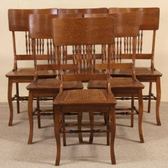 Antique Cane Seat Dining Chairs Parson Sold Set Of 6 Oak 1900 Seats