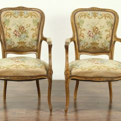 Antique French Sofa Ebay Living Room Photos Pair Of Carved 1925 Chairs Needlepoint