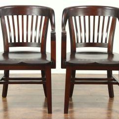 Antique Mahogany Office Chair Blue High Back Sold Pair 1910 Library Or Chairs Signed Milwaukee Harp Gallery