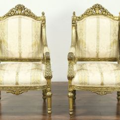 Vintage Arm Chair Little Tikes Table With Drawers And 2 Chairs Pair Of Carved Distressed Gold Finish Harp Gallery