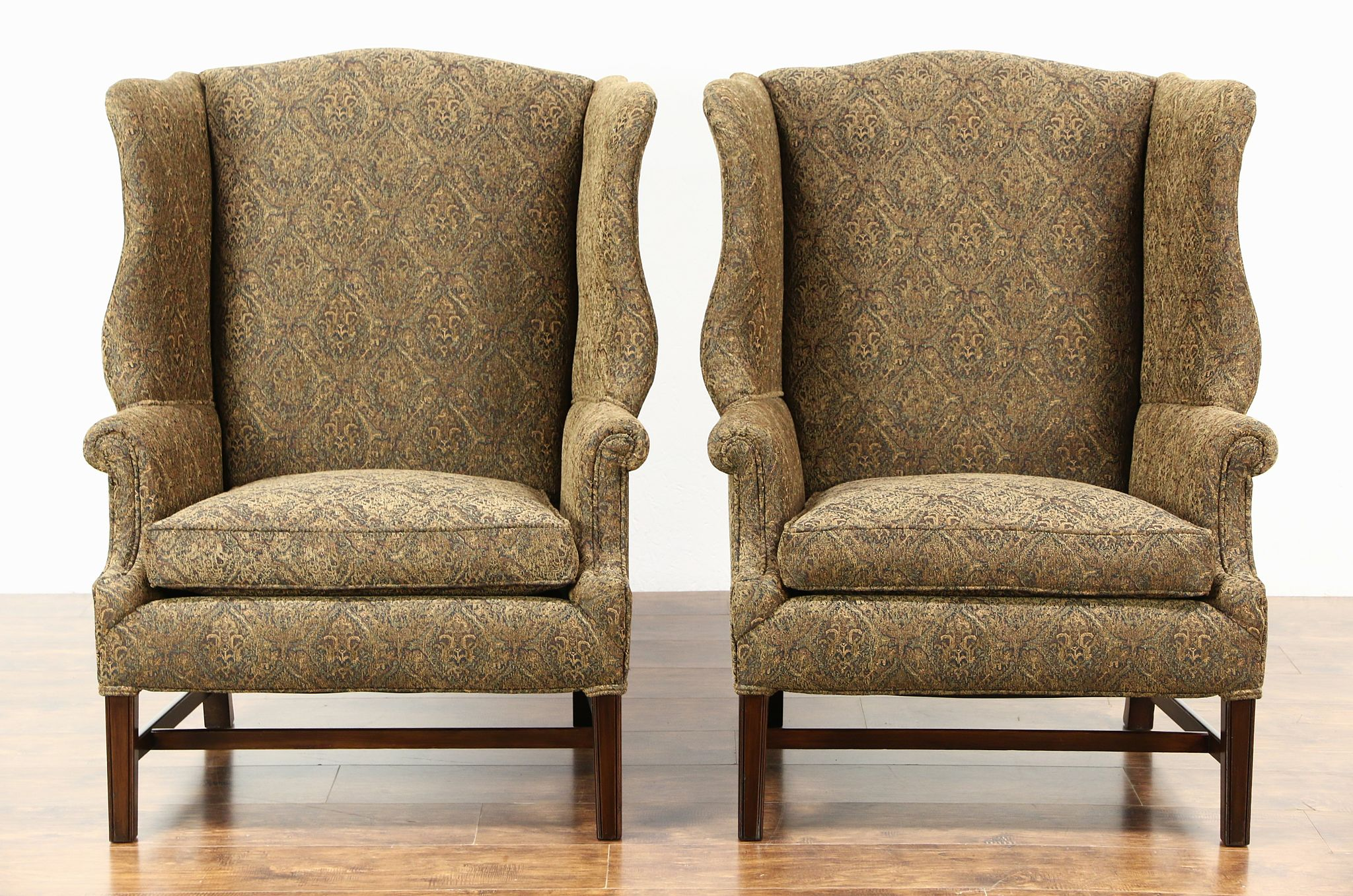 traditional wingback chair desk makeover sold pair of large vintage mahogany wing chairs newly upholstered harp gallery