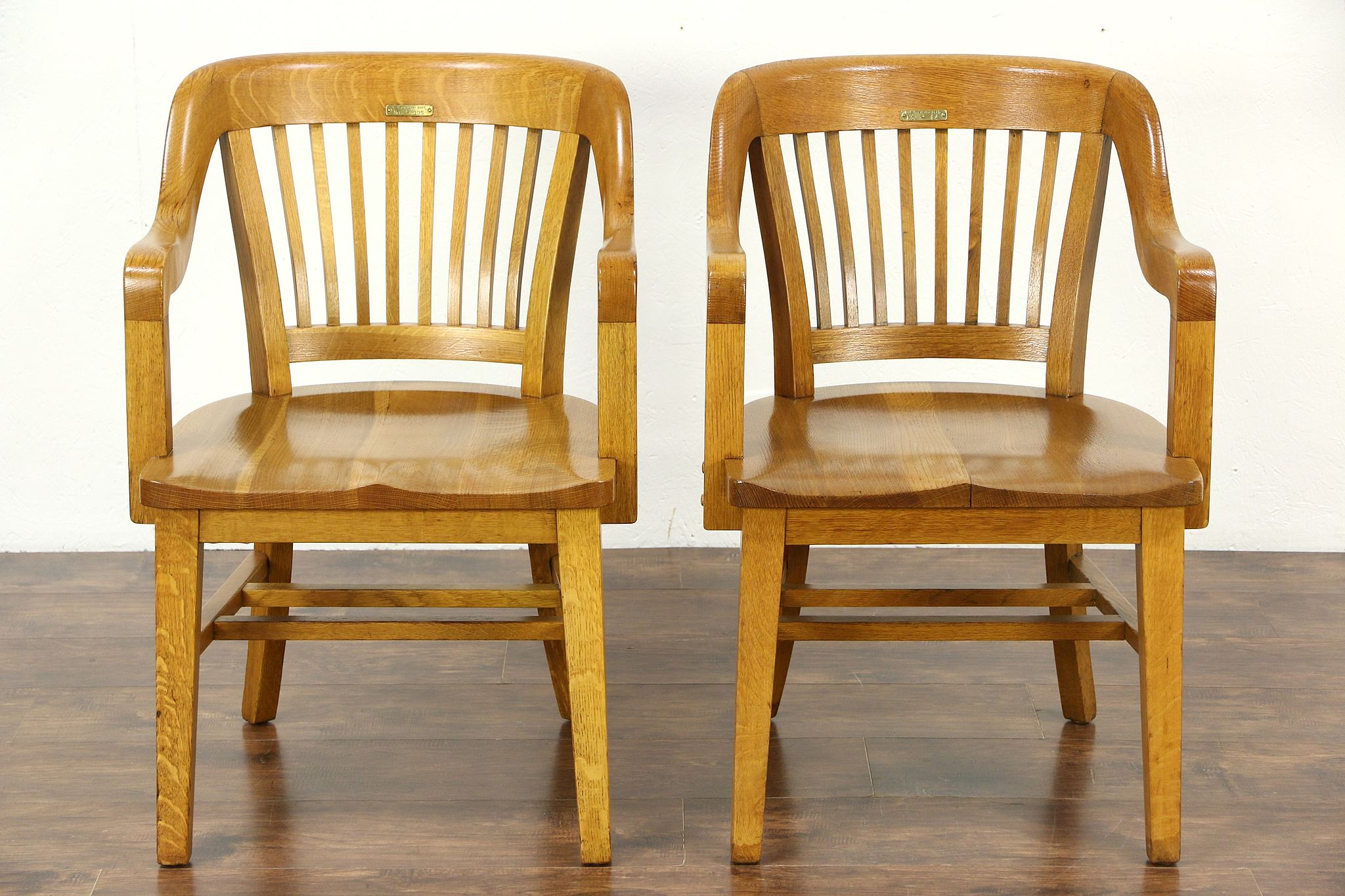 wooden library chair anywhere insert sold pair quarter sawn oak 1915 antique desk office or
