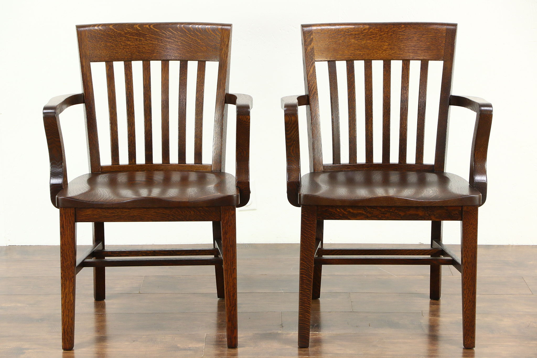wooden library chair costco computer chairs sold pair quarter sawn antique 1910 oak office or