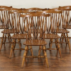 Chair Design Antique Outdoor Lift Sold Heywood Wakefield Signed Set Of 8 Windsor Vintage Maple Dining Chairs Harp Gallery