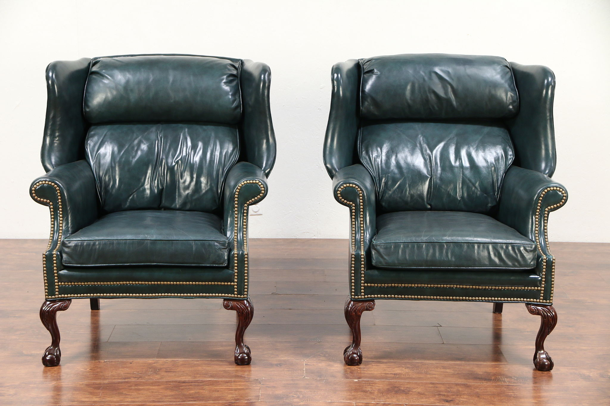 leather wing chairs queen anne style recliner chair sold georgian pair traditional vintage signed parliament 29587 harp gallery