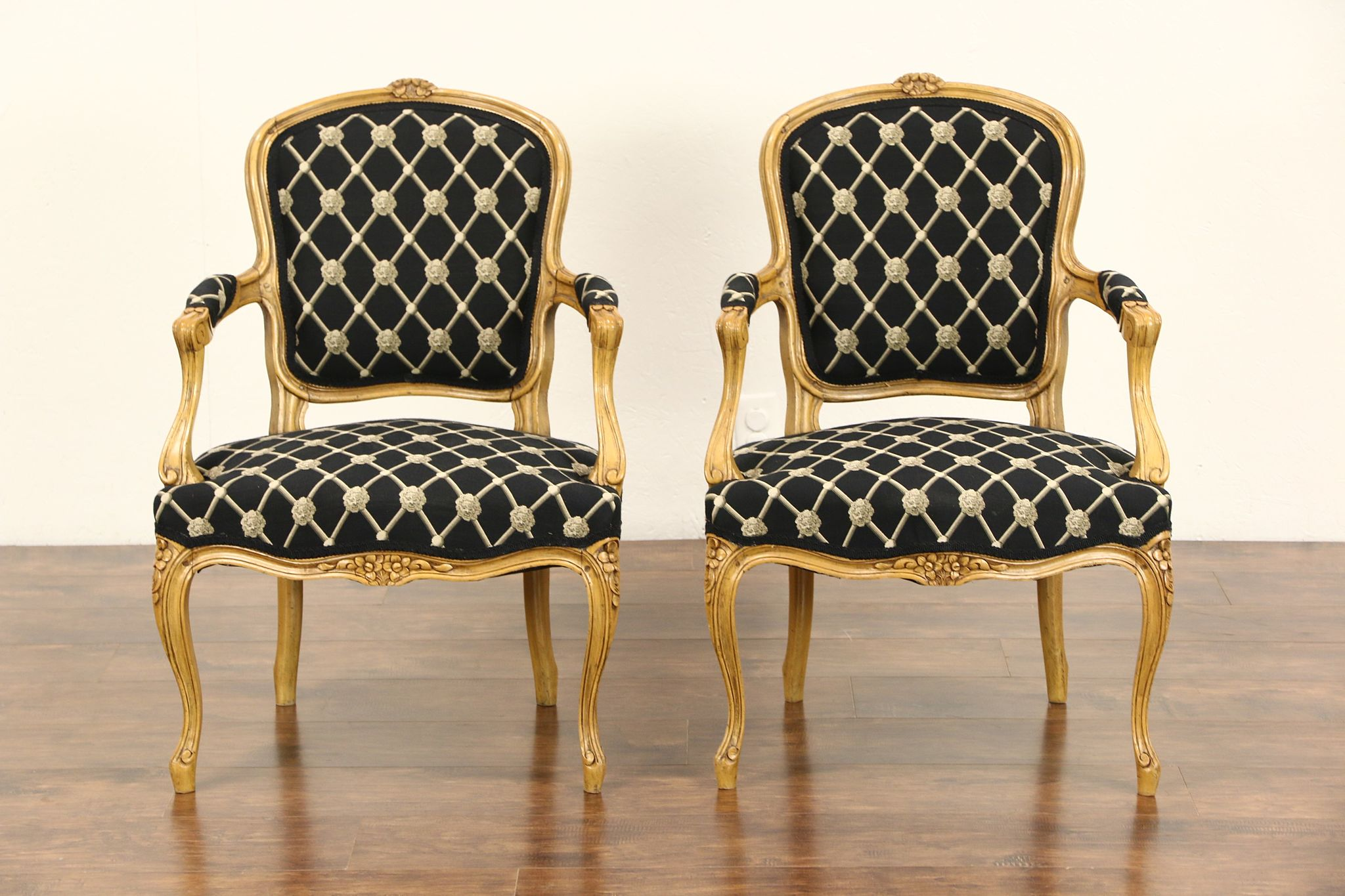 country french chairs upholstered dining room side sold pair of custom carved vintage beech w arms