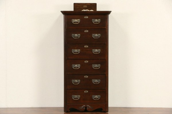 Sold - Victorian Antique 1900 Oak Narrow Tall Chest