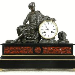 Antique Living Room Chair Styles Kids Camping Chairs Target Sold - Shakespeare Bronze Sculpture French Marble Signed Mantel Clock Harp Gallery