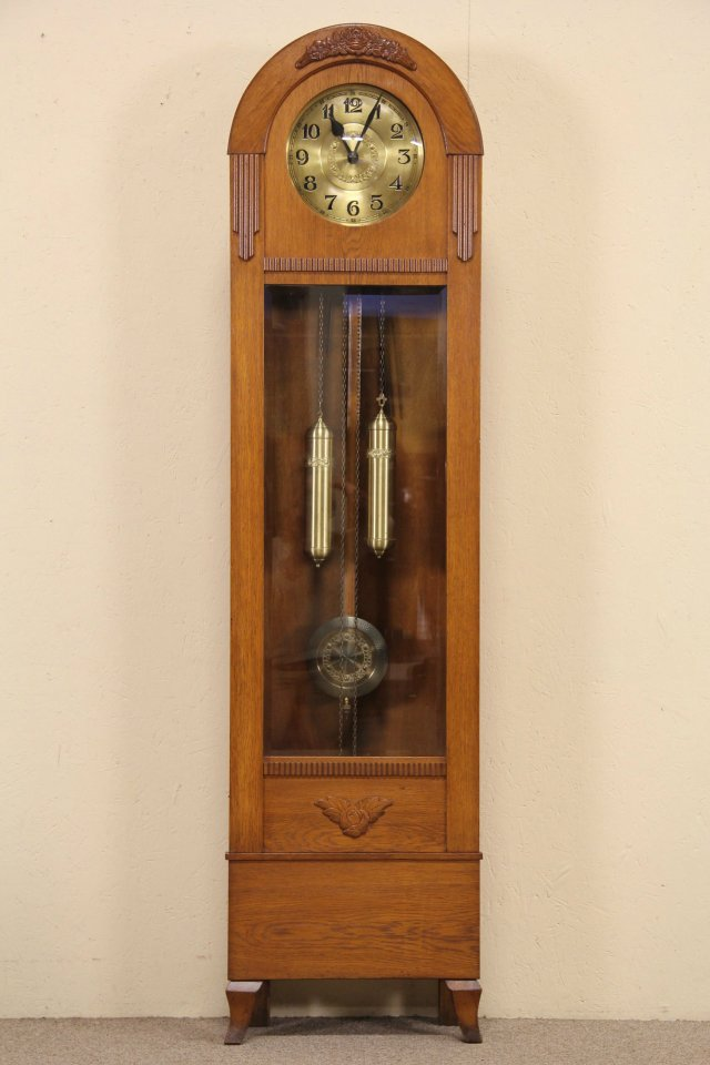 SOLD  Oak Tall Case Grandfather Clock 1915 Antique