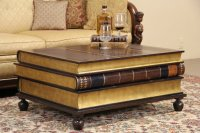SOLD - Maitland Smith Leather & Gold Leaf Book Coffee or ...