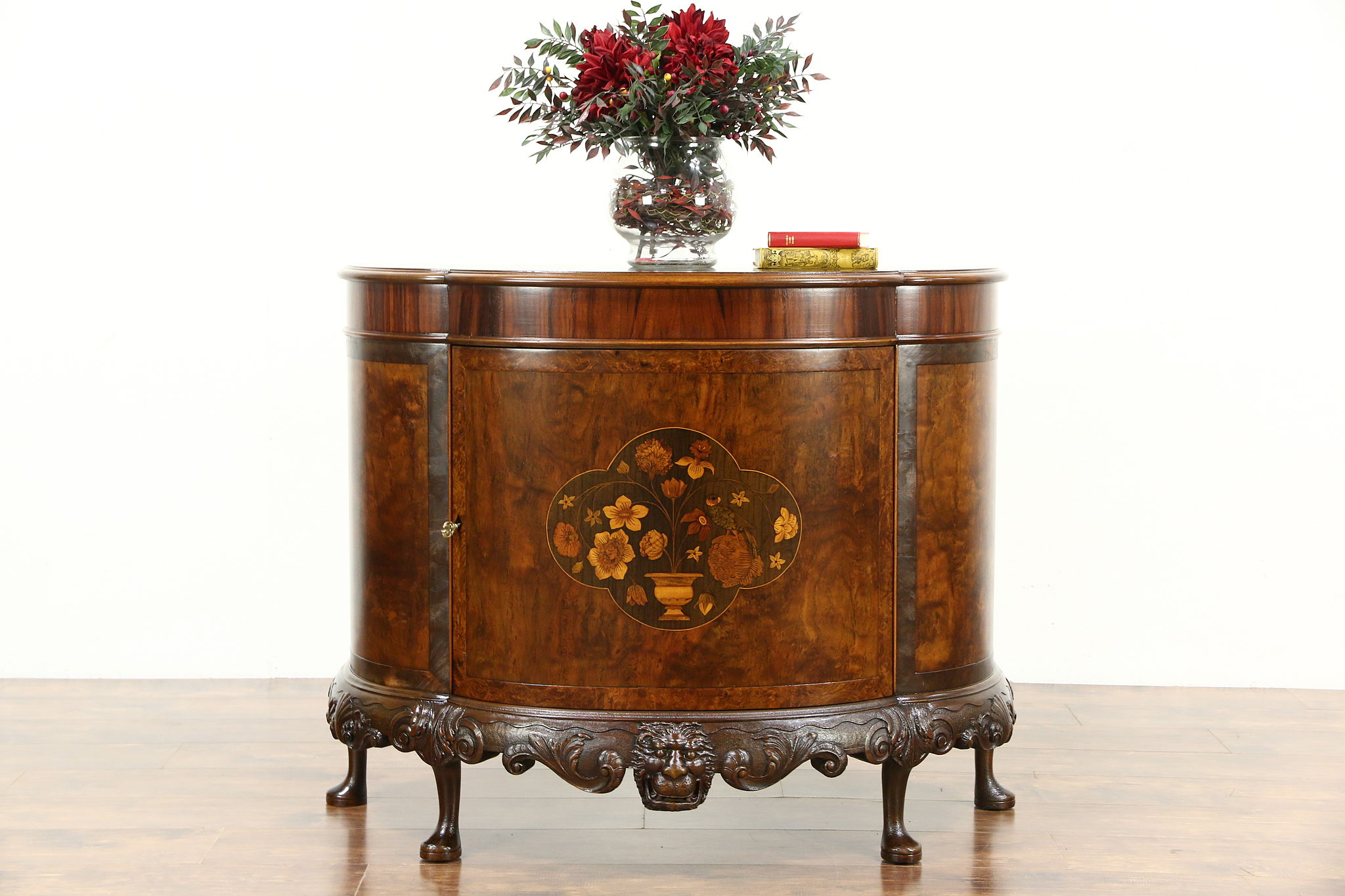 SOLD  Demilune Half Round Antique Sideboard or Hall Console Cabinet Marquetry  Harp Gallery